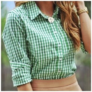 j. crew // gingham check perfect shirt button down